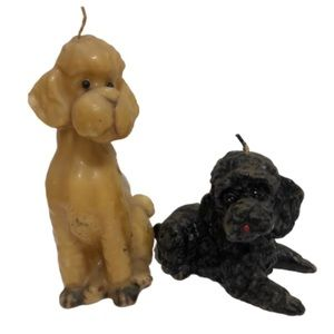 Pair of Vintage Poodle Shaped Candles Blond&Black
